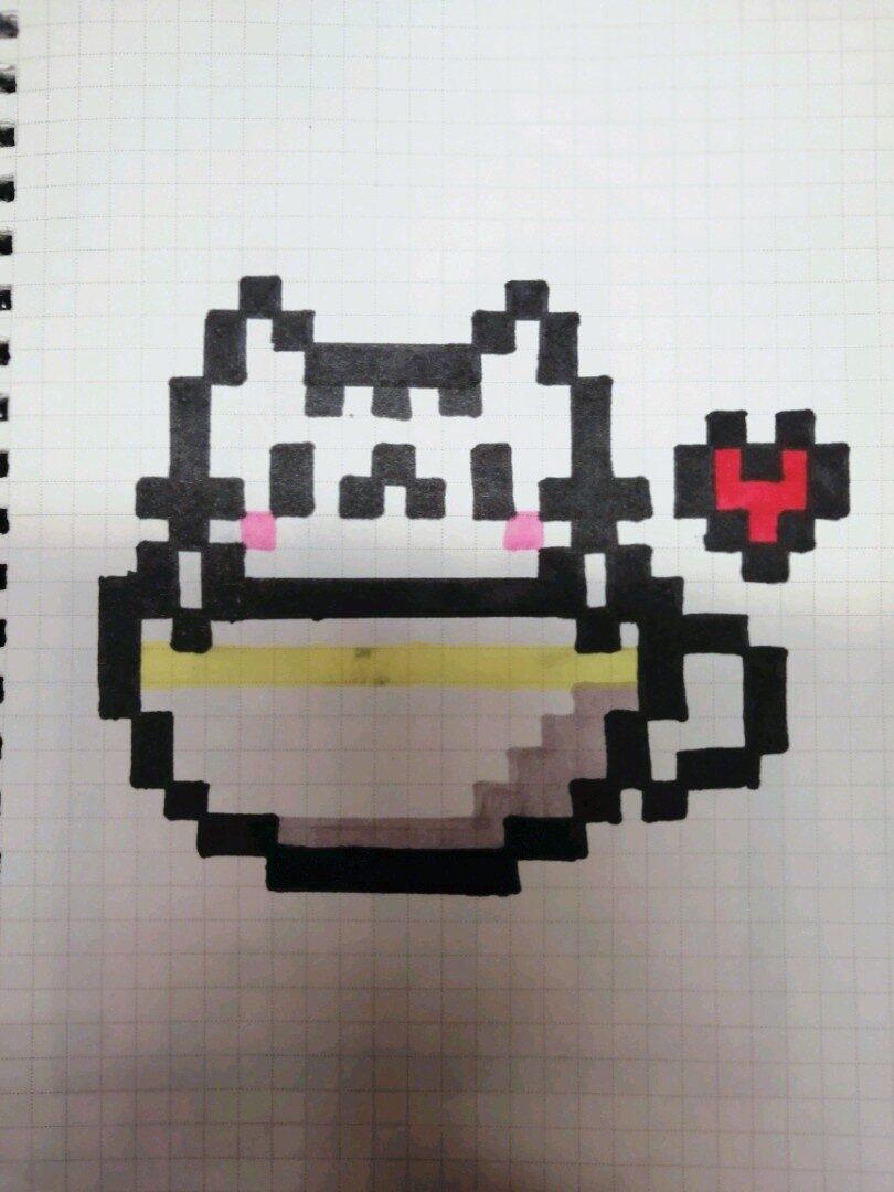茶杯猫,像素画