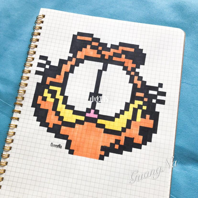 像素画 格子画加菲猫