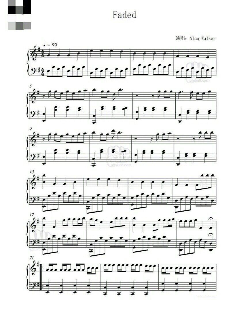 Faded 钢琴谱
