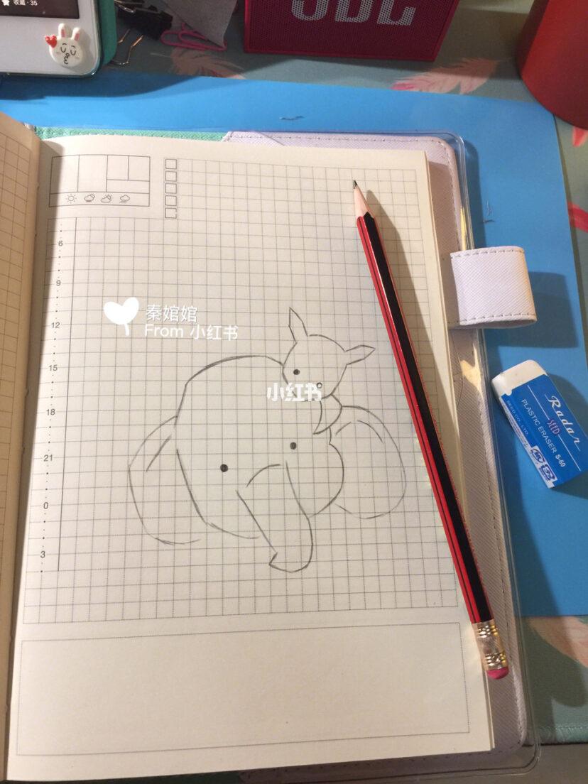 手帐素材简笔画彩铅画part4 大象与小白兔