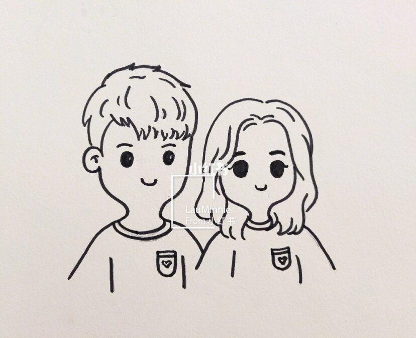 手绘简笔画 T恤刺绣 简单可爱情侣图