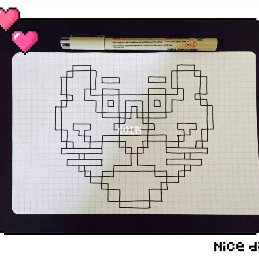 像素画 简笔画 马克笔画 可爱的粉红豹分享给你们啦