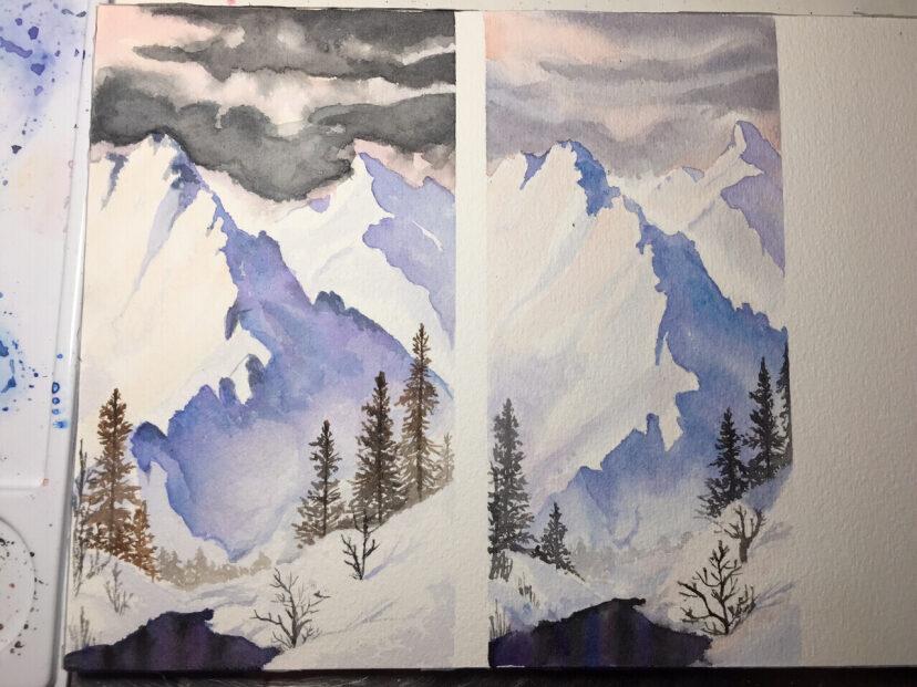 水彩临摹 雪山风景临摹心得图片