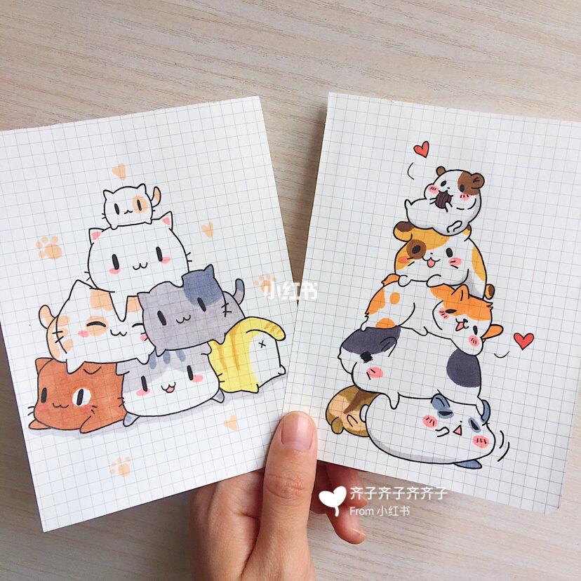 可爱动物叠叠乐简笔画