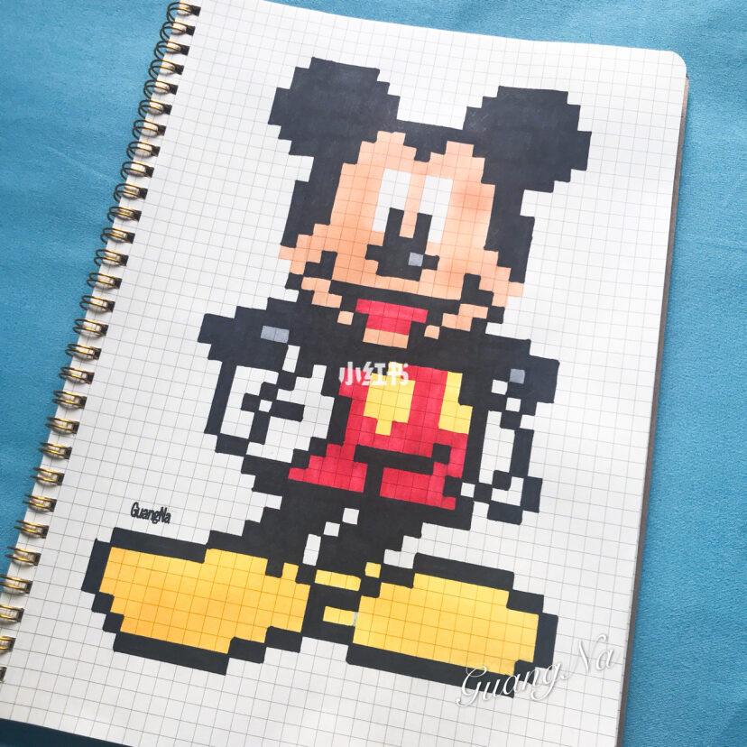 像素画 格子画 米奇米老鼠