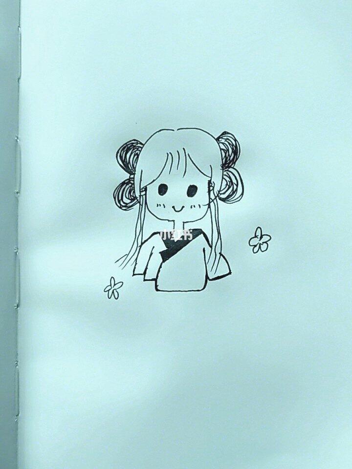 简笔画汉服女孩