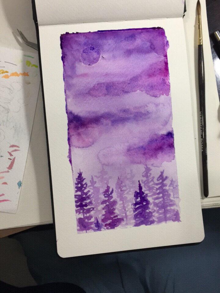 一个比较简单的水彩风景画 简单还画的不怎样