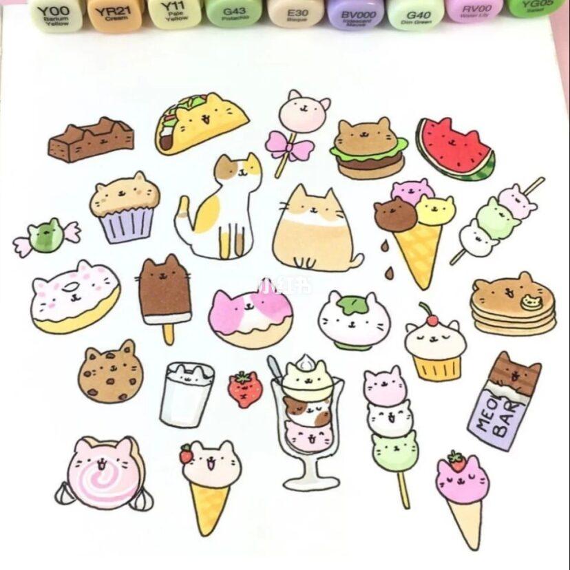 来画个简笔画吧 马克笔绘画超可爱食物简笔画素材,新手必备素材哦
