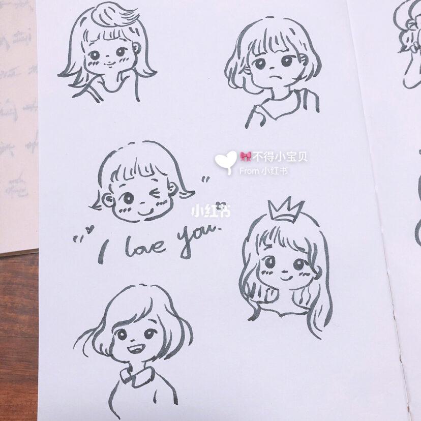 少女手帐素材分享手帐人物素材 简笔画人物 简笔画教程 手帐分享 简笔画分享图片