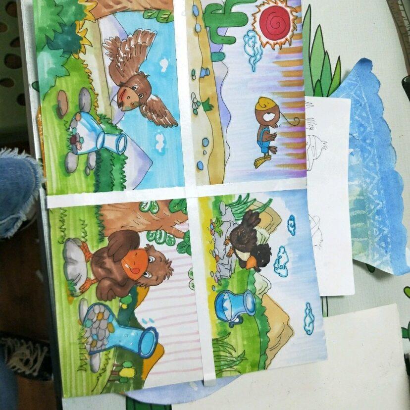乌鸦喝水 儿童创意美术连环画