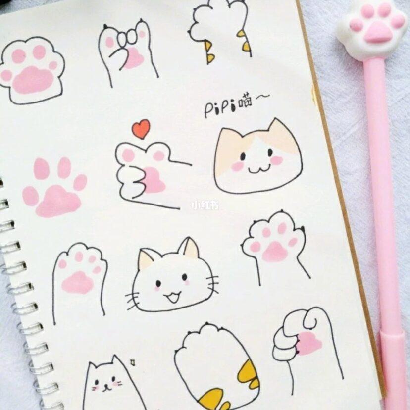 今日份简笔画 可爱猫咪爪 马克笔绘画,很好画的新手必备素材 还有猫咪系列中性画笔 绘画 文化娱乐 小红书