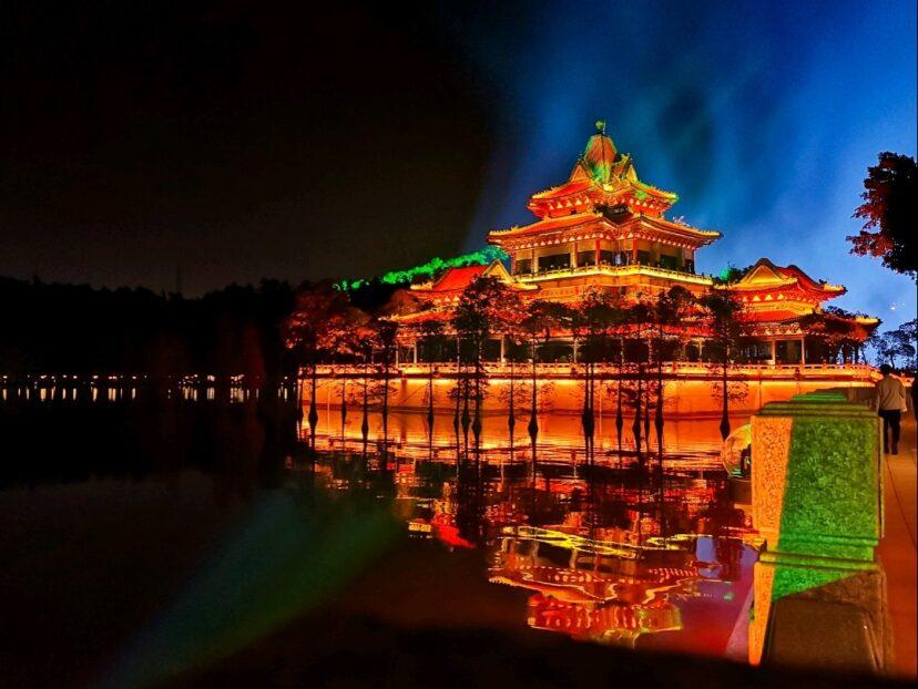 偶遇据说是中国最美灯光秀之一 顺德顺峰山公园凤起沧澜灯光文化展 去处 出行 小红书