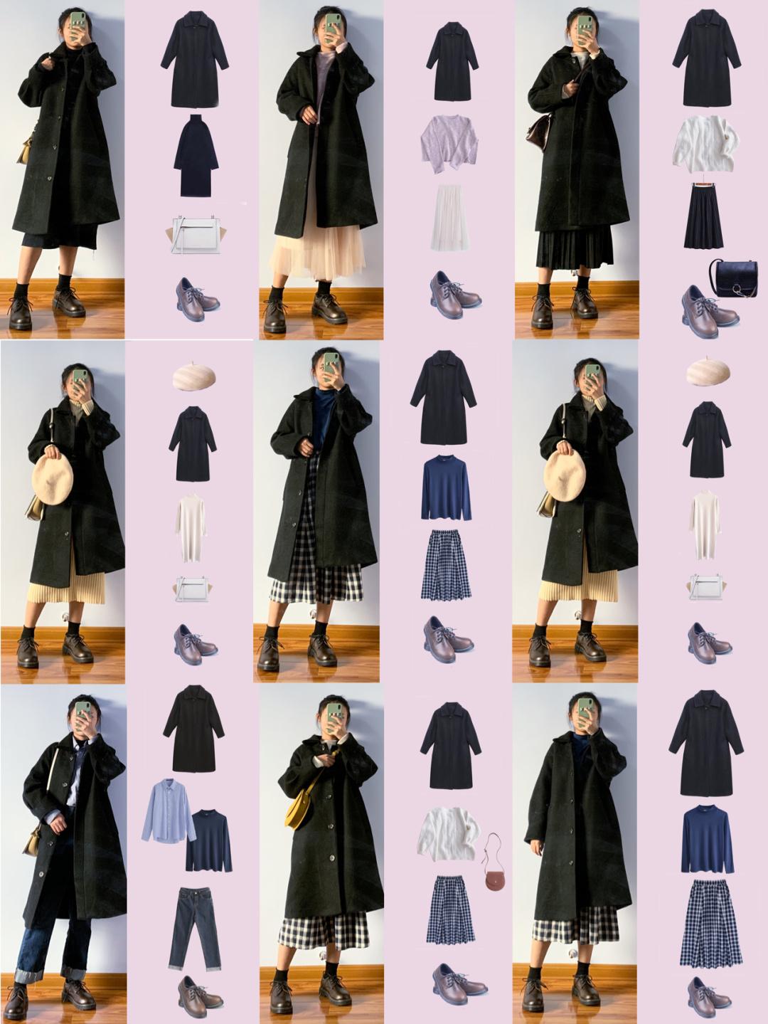 153cm平价黑色大衣一衣多穿 秋冬穿搭